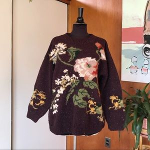 Vintage 90s EXPRESS wool sweater floral romantic